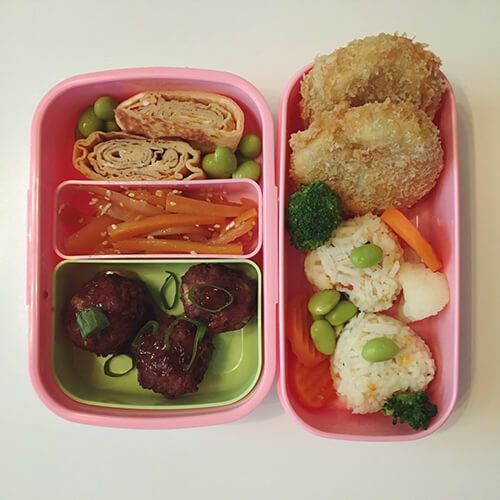 a homemade bento box lunch
