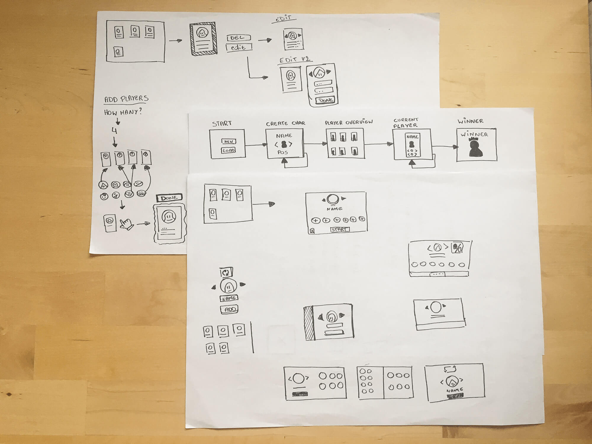 paper wireframes for the level counter